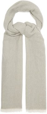 Eyelash-fringed Cashmere Scarf - Womens - Grey