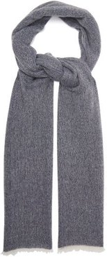 Fringed Cashmere Scarf - Womens - Navy