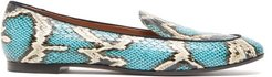 Purist Python-embossed Leather Loafers - Womens - Blue Multi