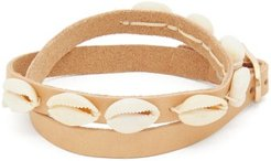 Shell-effect Leather Anklet - Womens - Beige