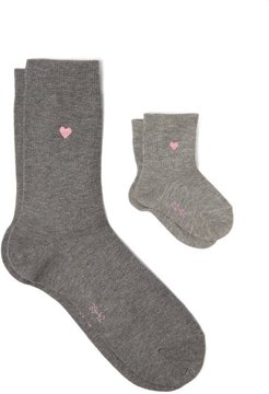 Mini Me Cotton-blend Adult And Baby Socks - Womens - Light Grey