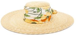 Dolce Floral-print Satin-band Straw Hat - Womens - Multi