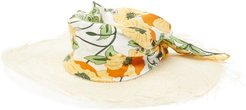 Luna Floral-satin And Straw Hat - Womens - Multi