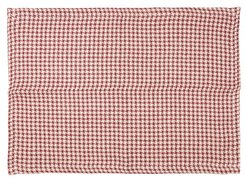 Set Of Two Houndstooth Linen Placemats - Red Multi