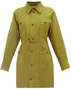 Ino Panelled Linen-blend Canvas Shirt Dress - Womens - Dark Green