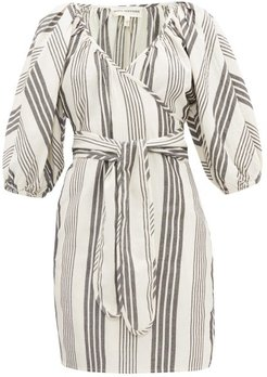 Coletta Stripe-jacquard Tencel-blend Wrap Dress - Womens - Black Stripe