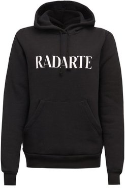 Radarte-print Fleeceback-jersey Hooded Sweatshirt - Womens - Black White
