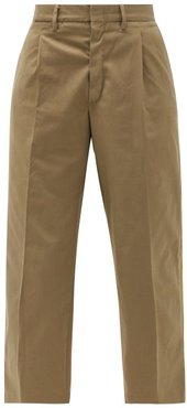 High-rise Pleated Cotton-blend Cropped Trousers - Womens - Khaki