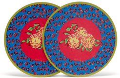 Set Of Two Leopard Floral Wood-blend Placemats - Blue Multi