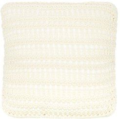 Small Ribbed Lace-knit Cotton Cushion - Light Beige