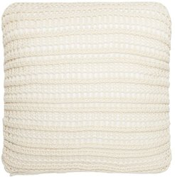 Ribbed Lace-knit Cotton Cushion - Light Beige