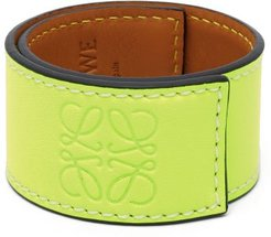 Anagram-debossed Leather Slap Bracelet - Womens - Yellow