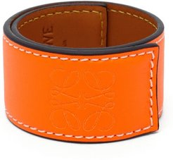 Anagram-debossed Leather Slap Bracelet - Womens - Orange