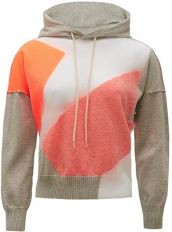 Graphic-jacquard Hooded Cotton-blend Sweatshirt - Womens - Grey Multi