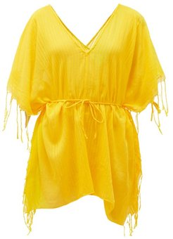 Kya Ribbed Cotton Tunic - Womens - Yellow