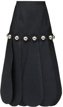 Dome-embellished Cloqué Midi Skirt - Womens - Black
