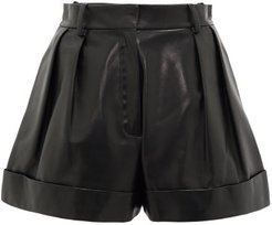 High-rise Leather Shorts - Womens - Black
