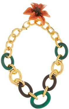 Flower Pendant Cable-chain Necklace - Womens - Green Multi
