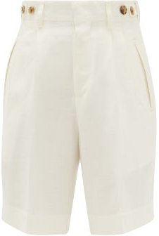 High-rise Double-pleated Shorts - Womens - White