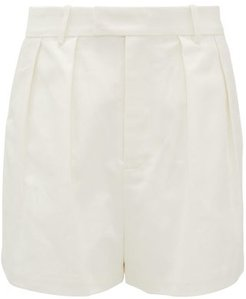 Sabine High-rise Cotton-twill Shorts - Womens - Ivory