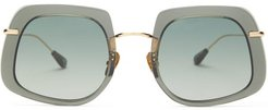 Barton Square Acetate Sunglasses - Womens - Green