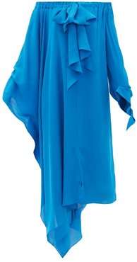 Caldera Off-the-shoulder Silk-georgette Dress - Womens - Blue