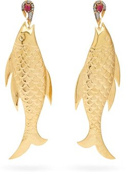 Bora Bora 24kt Gold-plated Fish Earrings - Womens - Red Gold