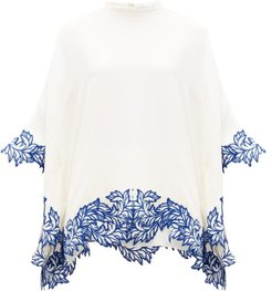 Floral-embroidered Crepe Poncho Top - Womens - Ivory