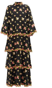 Tiered Floral-embroidered Silk-blend Crepe Dress - Womens - Black