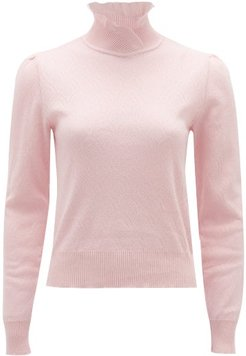 Ruffled-neck Pointelle-knitted Cotton Sweater - Womens - Pink
