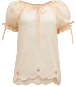 Daily Graind Embroidered Linen Blouse - Womens - Beige