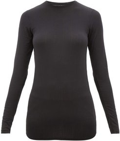 Whipped Round-neck Ribbed-jersey Top - Womens - Black