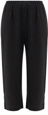 Cropped Linen Trousers - Womens - Black