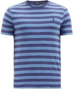 Striped Logo-embroidered Cotton-jersey T-shirt - Mens - Navy Multi