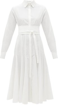 Belted Godet-panelled Organic-cotton Shirt Dress - Womens - White