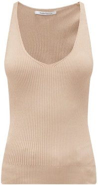 V-neck Rib-knitted Tank Top - Womens - Nude