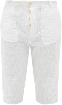 Crinkled Cotton-muslin Shorts - Mens - White