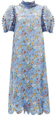Elinor Love Letters-print Silk-satin Midi Dress - Womens - Blue Multi