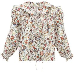 Defensia-print Cotton-poplin Blouse - Womens - White Multi