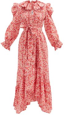 Defensia Scalloped Floral-print Cotton Dress - Womens - Red Multi