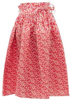 Toga Floral-print Cotton Midi Skirt - Womens - Red Multi
