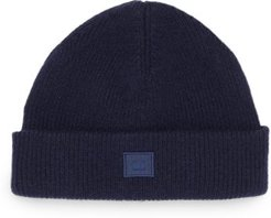 Face-patch Ribbed Wool-blend Beanie - Mens - Navy