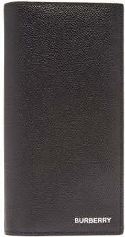 Foiled-logo Grained-leather Continental Wallet - Mens - Black