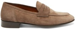 Suede Penny Loafers - Mens - Beige