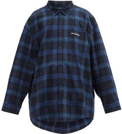Logo-embroidered Checked Cotton-twill Shirt - Mens - Black Blue
