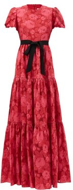 Trin Tiered Floral-jacquard Satin Gown - Womens - Pink