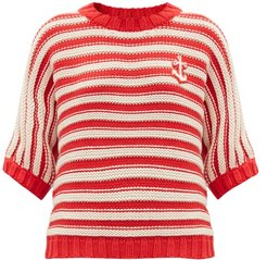Anchor-patch Striped Cotton-blend Sweater - Womens - Red White