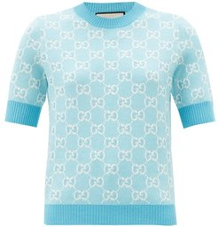 GG-jacquard Wool-blend Sweater - Womens - Blue White