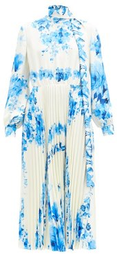 Scarf-neck Pleated Floral-print Silk-twill Dress - Womens - Blue White