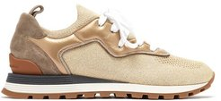 Metallic Leather-trimmed Trainers - Womens - Gold